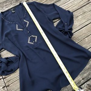 Forever 21 Tops - NWOT Navy Beaded Embroidered Tunic Blouse